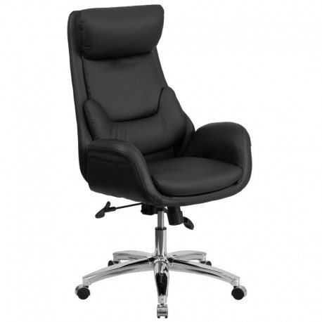 MFO High Back Black Leather Executive Office Chair with Lumbar Pillow