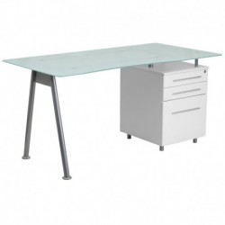 MFO White Computer Desk with Glass Top and Three Drawer Pedestal