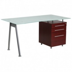 MFO Glass Computer Desk with Mahogany Three Drawer Pedestal