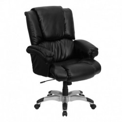 MFO High Back Black Leather OverStuffed Executive Office Chair