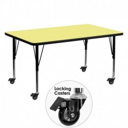 MFO Mobile 30''W x 60''L Rectangular Activity Table with Yellow Thermal Fused Laminate Top and Height Adjustable Pre-School Legs