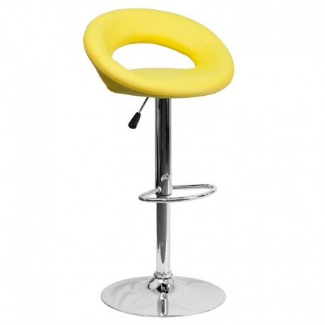 MFO Contemporary Yellow Vinyl Rounded Back Adjustable Height Bar Stool with Chrome Base