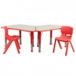 MFO Red Trapezoid Plastic Activity Table Configuration with 2 School Stack Chairs