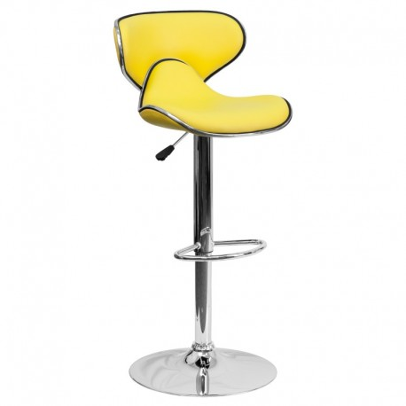 MFO Contemporary Cozy Mid-Back Yellow Vinyl Adjustable Height Bar Stool with Chrome Base