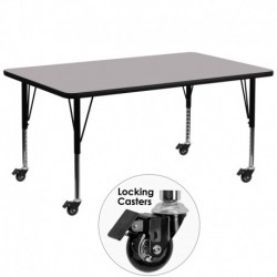 MFO Mobile 30''W x 72''L Rectangular Activity Table with Grey Thermal Fused Laminate Top and Height Adjustable Pre-School Legs