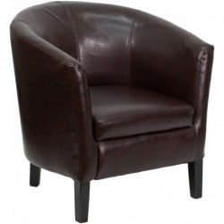MFO Brown Leather Barrel Shaped Guest Chair