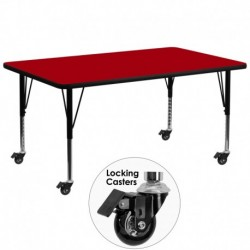MFO Mobile 30''W x 72''L Rectangular Activity Table with Red Thermal Fused Laminate Top and Height Adjustable Pre-School Legs