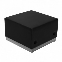 MFO Inspiration Collection Black Leather Ottoman with Brushed Stainless Steel Base