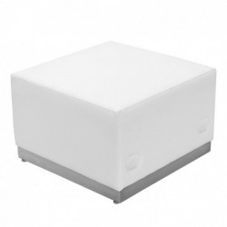 MFO Inspiration Collection White Leather Ottoman with Brushed Stainless Steel Base