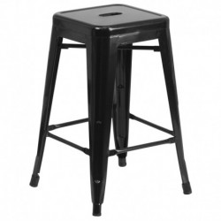 MFO 24'' Backless Black Metal Counter Height Stool