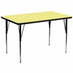 MFO 36''W x 72''L Rectangular Activity Table with Yellow Thermal Fused Laminate Top and Standard Height Adjustable Legs