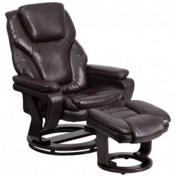 MFO Contemporary Brown Leather Recliner and Ottoman with Swiveling Mahogany Wood Base