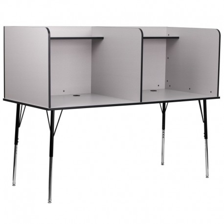 MFO Double Wide Study Carrel with Adjustable Legs and Top Shelf in Nebula Grey Finish