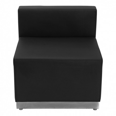 MFO Inspiration Collection Black Leather Chair with Brushed Stainless Steel Base