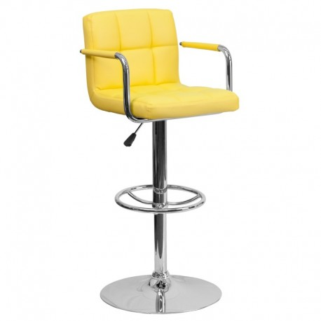MFO Contemporary Yellow Quilted Vinyl Adjustable Height Bar Stool with Arms and Chrome Base