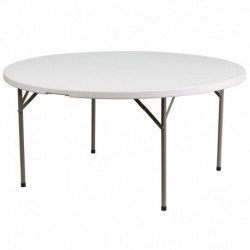 MFO 60'' Round Granite White Plastic Folding Table
