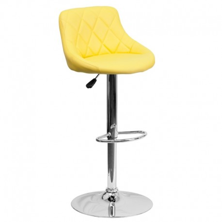 MFO Contemporary Yellow Vinyl Bucket Seat Adjustable Height Bar Stool with Chrome Base