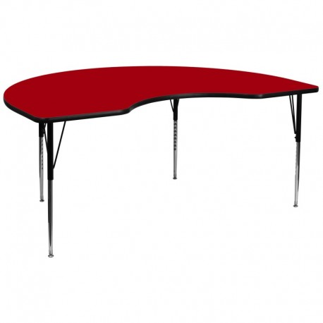 MFO 48''W x 96''L Kidney Shaped Activity Table with Red Thermal Fused Laminate Top and Standard Height Adjustable Legs