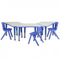 MFO Blue Trapezoid Plastic Activity Table Configuration with 3 School Stack Chairs