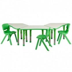 MFO Green Trapezoid Plastic Activity Table Configuration with 3 School Stack Chairs