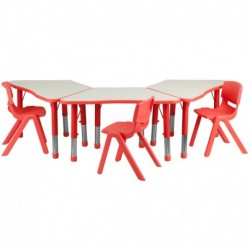 MFO Red Trapezoid Plastic Activity Table Configuration with 3 School Stack Chairs
