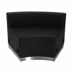 MFO Inspiration Collection Black Leather Concave Chair with Brushed Stainless Steel Base