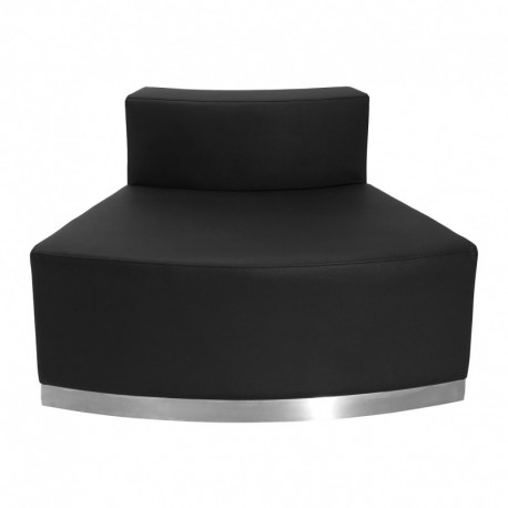 MFO Inspiration Collection Black Leather Convex Chair with Brushed Stainless Steel Base