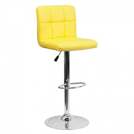 MFO Contemporary Yellow Quilted Vinyl Adjustable Height Bar Stool with Chrome Base