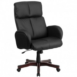 MFO High Back Black Leather Executive Office Chair with Fully Upholstered Arms