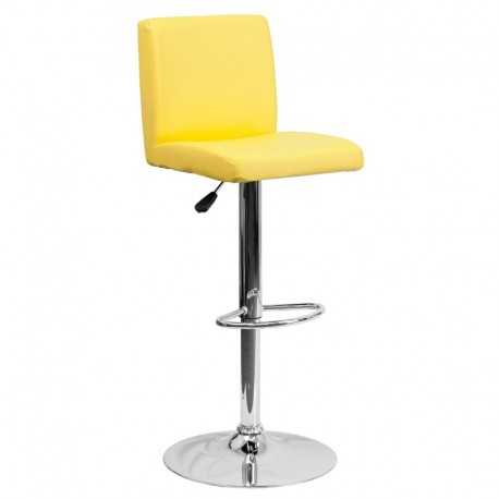 MFO Contemporary Yellow Vinyl Adjustable Height Bar Stool with Chrome Base