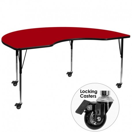 MFO Mobile 48''W x 72''L Kidney Shaped Activity Table with Red Thermal Fused Laminate Top and Standard Height Adjustable Legs