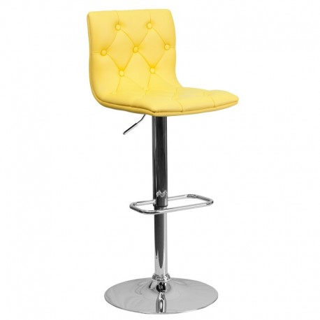 MFO Contemporary Tufted Yellow Vinyl Adjustable Height Bar Stool with Chrome Base