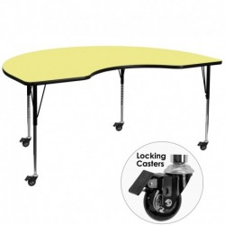 MFO Mobile 48''W x 72''L Kidney Shaped Activity Table with Yellow Thermal Fused Laminate Top and Standard Height Adjustable Legs