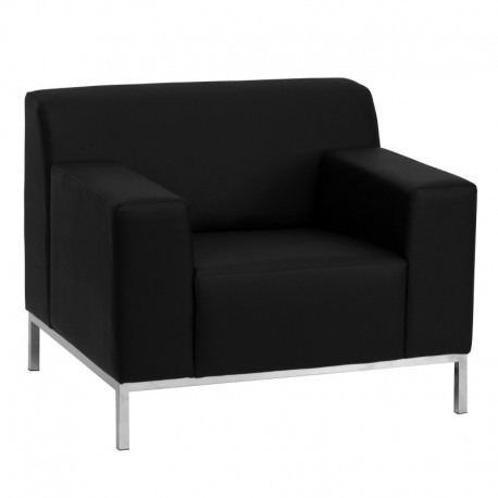 MFO Basal Collection Contemporary Black Leather Chair with Stainless Steel Frame