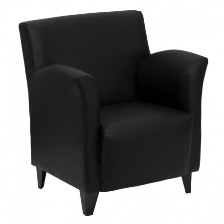 MFO Arc Collection Black Leather Reception Chair