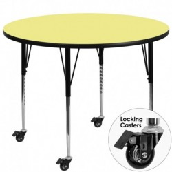 MFO Mobile 60'' Round Activity Table with Yellow Thermal Fused Laminate Top and Standard Height Adjustable Legs