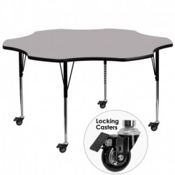 MFO Mobile 60'' Flower Shaped Activity Table with Grey Thermal Fused Laminate Top and Standard Height Adjustable Legs