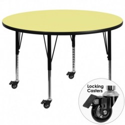 MFO Mobile 60'' Round Activity Table with Yellow Thermal Fused Laminate Top and Height Adjustable Pre-School Legs