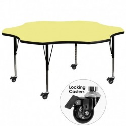 MFO Mobile 60'' Flower Shaped Activity Table with Yellow Thermal Fused Laminate Top and Height Adjustable Pre-School Legs
