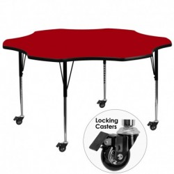 MFO Mobile 60'' Flower Shaped Activity Table with Red Thermal Fused Laminate Top and Standard Height Adjustable Legs