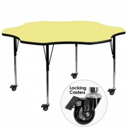 MFO Mobile 60'' Flower Shaped Activity Table with Yellow Thermal Fused Laminate Top and Standard Height Adjustable Legs