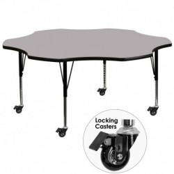 MFO Mobile 60'' Flower Shaped Activity Table with Grey Thermal Fused Laminate Top and Height Adjustable Pre-School Legs