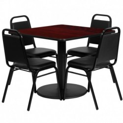MFO 36'' Square Mahogany Laminate Table Set with 4 Black Trapezoidal Back Banquet Chairs