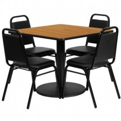 MFO 36'' Square Natural Laminate Table Set with 4 Black Trapezoidal Back Banquet Chairs