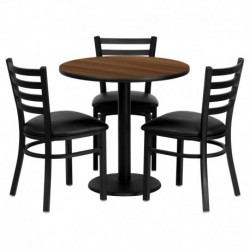 MFO 30'' Round Walnut Laminate Table Set with 3 Ladder Back Metal Chairs - Black Vinyl Seat