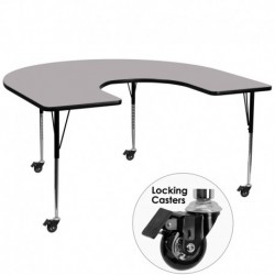 MFO Mobile 60''W x 66''L Horseshoe Activity Table with Grey Thermal Fused Laminate Top and Standard Height Adjustable Legs