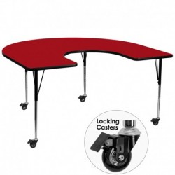MFO Mobile 60''W x 66''L Horseshoe Activity Table with Red Thermal Fused Laminate Top and Standard Height Adjustable Legs