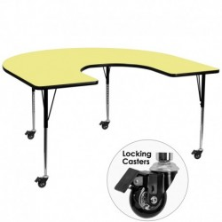 MFO Mobile 60''W x 66''L Horseshoe Activity Table with Yellow Thermal Fused Laminate Top and Standard Height Adjustable Legs