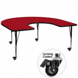 MFO Mobile 60''W x 66''L Horseshoe Activity Table with Red Thermal Fused Laminate Top and Height Adjustable Pre-School Legs