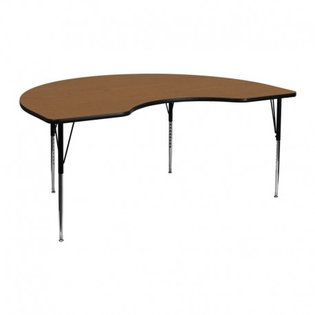 MFO 48''W x 72''L Kidney Shaped Activity Table with Oak Thermal Fused Laminate Top and Standard Height Adjustable Legs